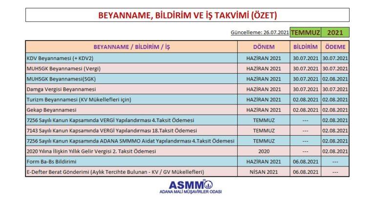 Temmuz-2021 dönemi Beyanname, bildirim ve İş Takvimi (Özet)
